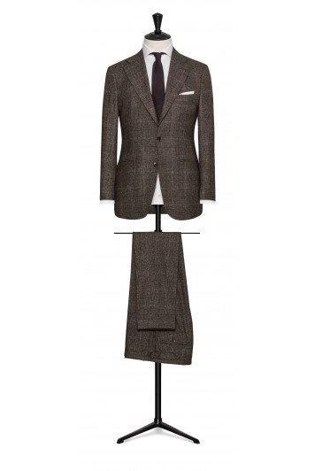 mixed brown wool-silk glencheck wedding suit