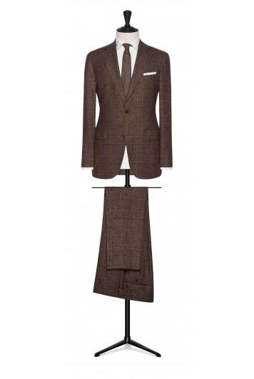 mahogany brown wool-silk glencheck wedding suit