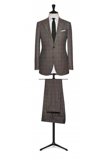brown-grey wool with brown fine windowpane wedding suit