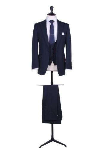 Slim fit navy wedding suit hire