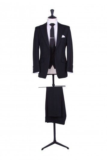 slim fit black wedding suit hire