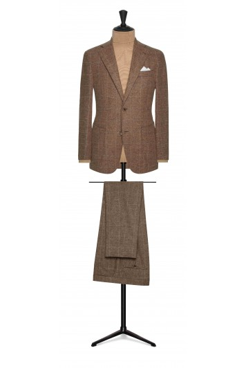 mid brown cotton and alpaca bouclé with fine white windowpane wedding suit