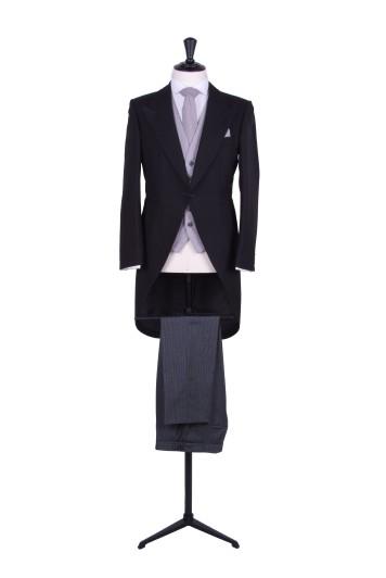 Navy tailcoat wedding suit hire