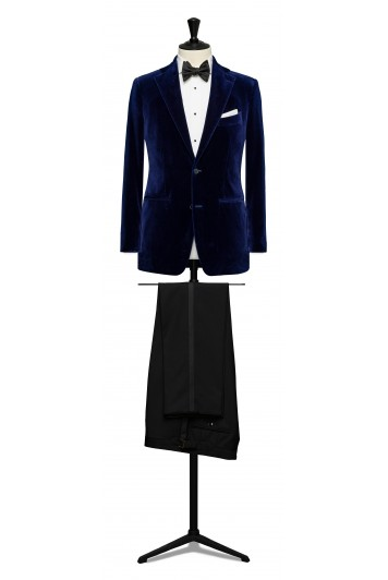 Navy blue velvet dinner suit made to measure