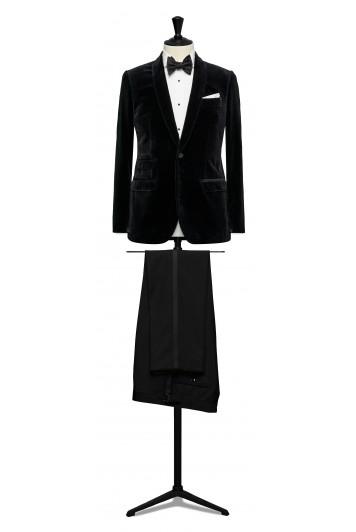 Black velvet dinner suit made to measure