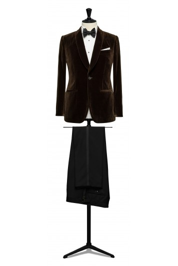 Brown velvet dinner suit made to measure