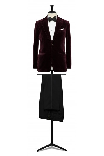 Burgundy velvet dinner suit made to measure