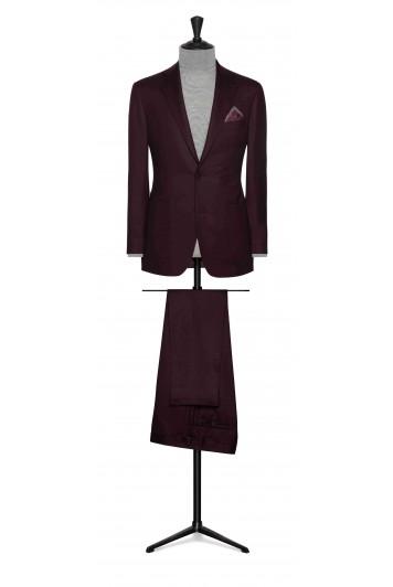 wine red wool twill wedding suit