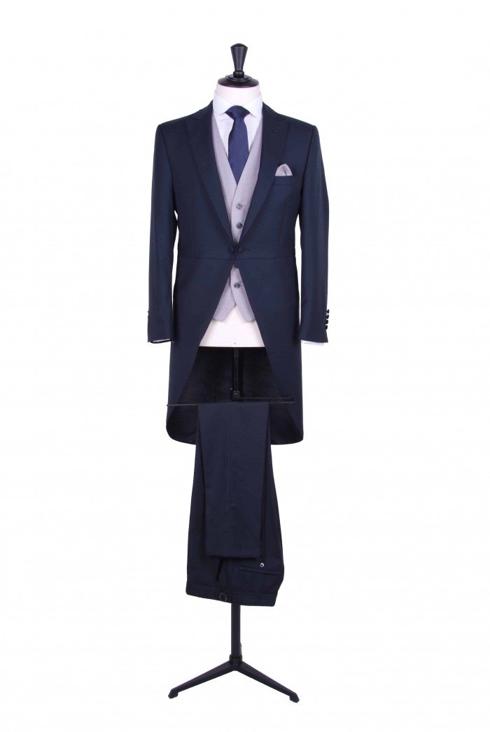 Slim fit navy tailcoat wedding hire suit - Anthony Formal Wear