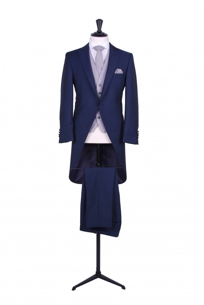 Slim fit royal blue tailcoat light weight wedding suit hire ...