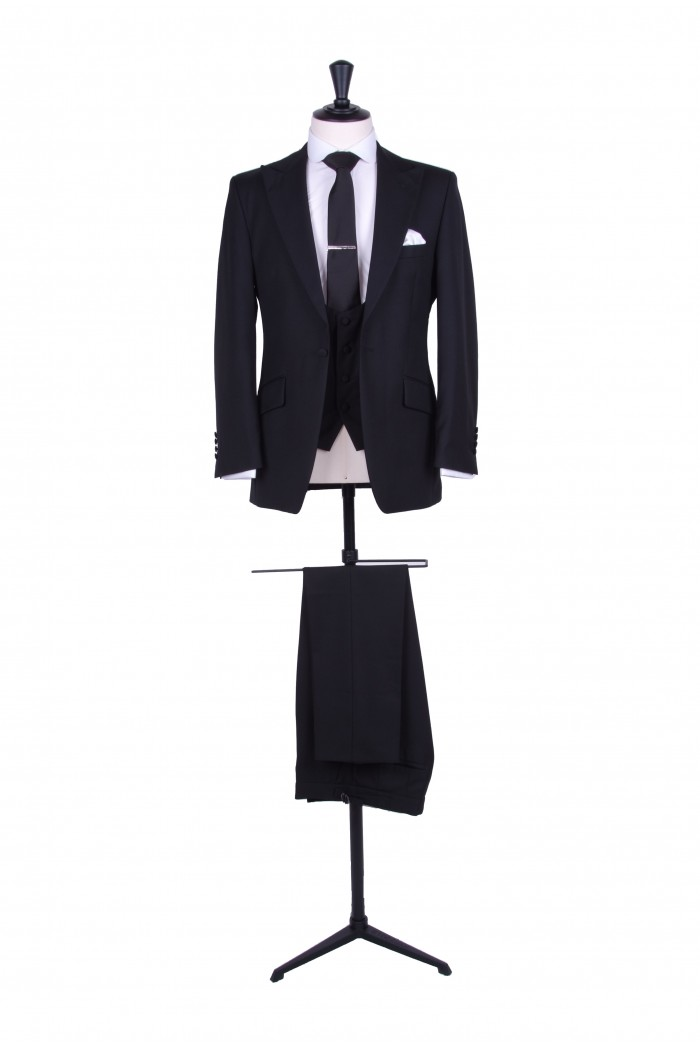 Slim fit black wedding lounge suit to hire. - Anthony Formal Wear