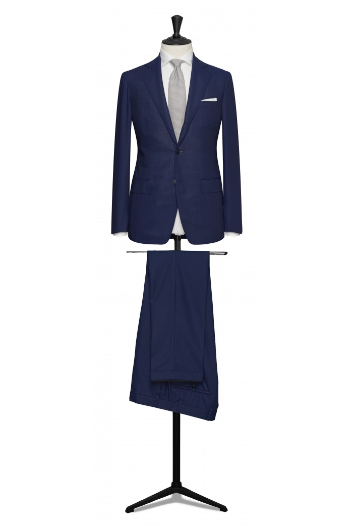 Napolitan blue pure wool suit made to measure groom suit - Anthony ...