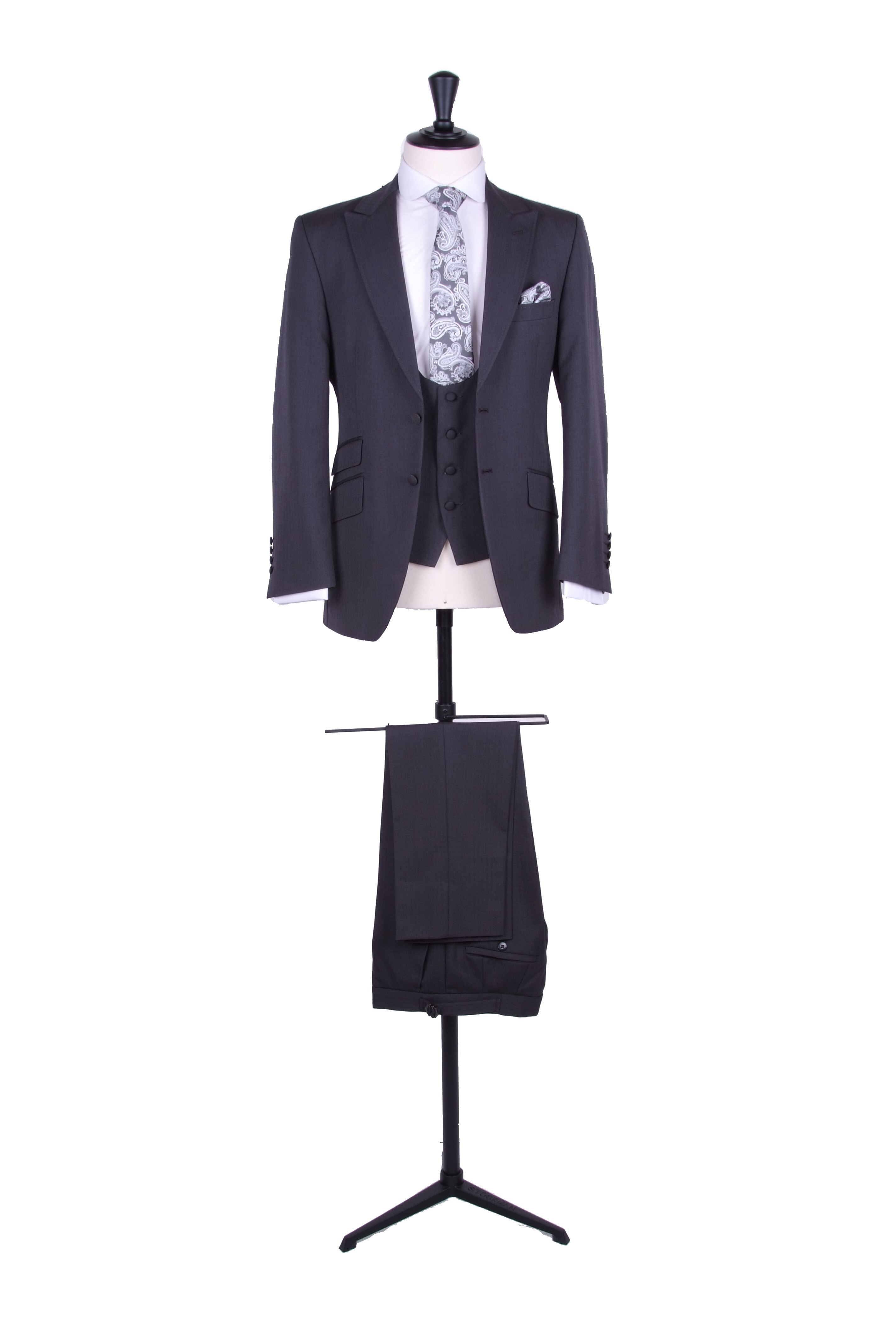 slim fit grey grooms wedding suit hire - Anthony Formal Wear