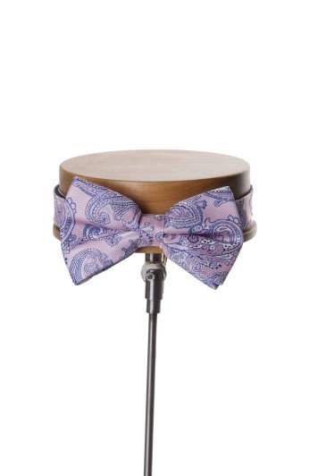 Pale pink paisley Grooms wedding bow tie