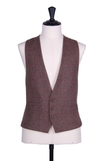 Brown tweed wedding waistcoat 3 button