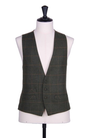 Green tweed 3 button classic wedding waistcoat