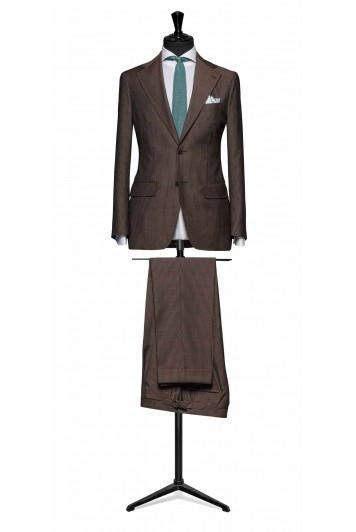 Brown pinstripe pure wool suit made to measure grooms suit