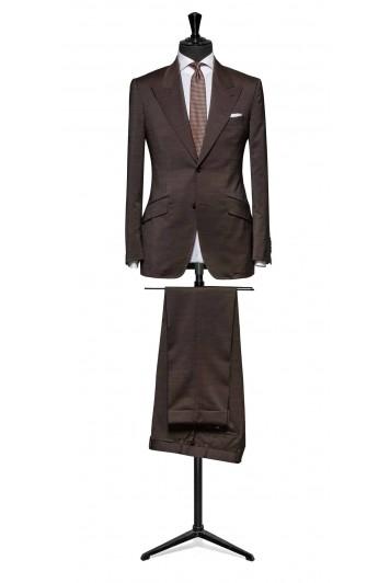 Dark brown hairline stripe wool & mohair suit made to measure grooms suit