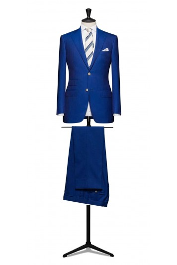 Blue pinstripe pure wool suit made to measure grooms suit