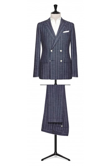 Slate Blue striped melange made to measure suit