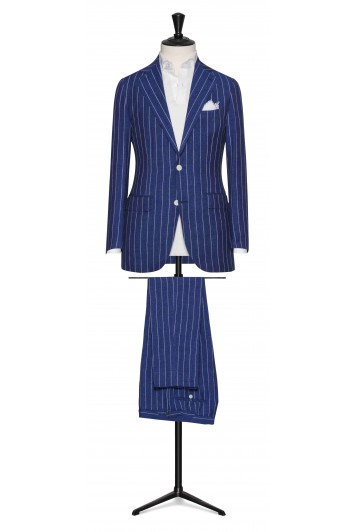 Royal Blue wool-silk-linen chalk stripes made to measure suit