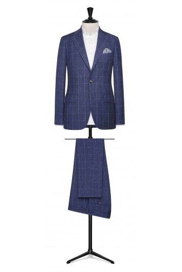 Slate Blue linen-wool-silk fine windowpane made to measure suit