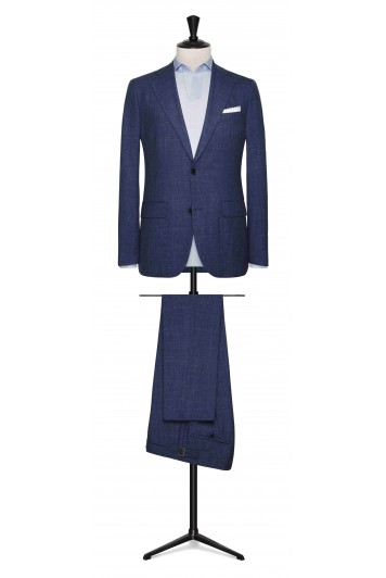Blue melange wool-silk-linen glencheck made to measure suit