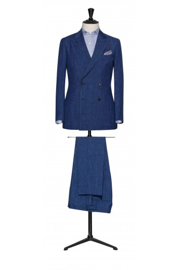 Mid Blue melange linen-wool-silk made to measure suit