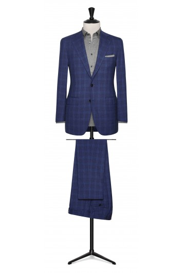 Bright Blue check made to measure suit