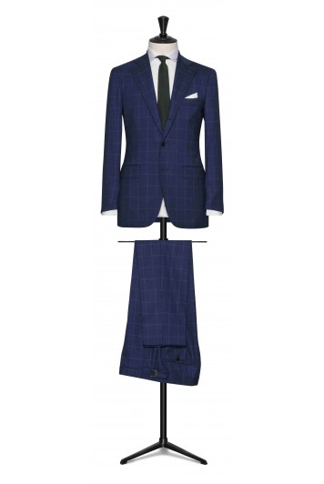 Blue melange with light Blue windowpane stretch made to measure suit