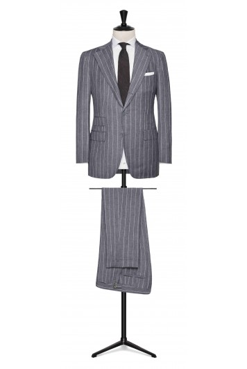 Mid Grey linen-wool-silk chalk stripes made to measure suit