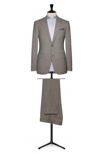 Brown-grey mouliné made to measure suit