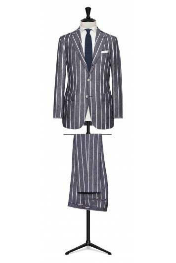 Dark Blue-White striped linen made to measure suit
