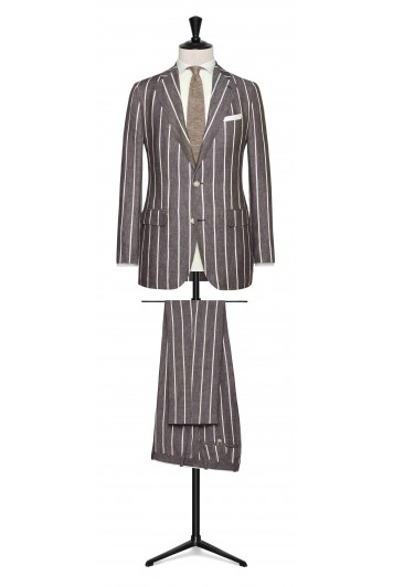 Mid Brown-White striped linen made to measure suit