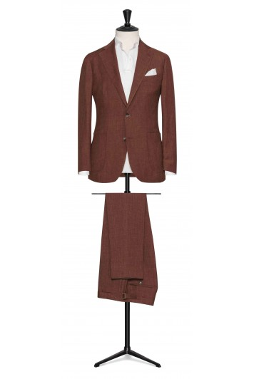 Brick Red linen-wool-silk made to measure suit