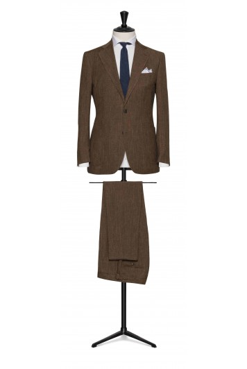 Mid Brown linen-wool-silk made to measure suit
