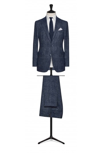 mid blue brushed wool grooms suit