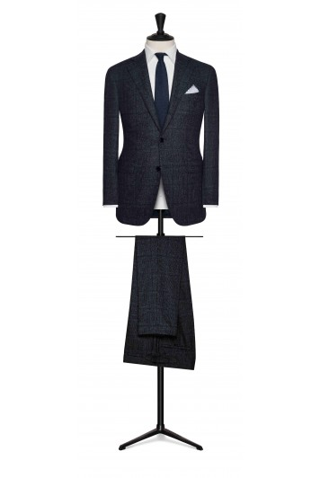 grooms dark blue check suit