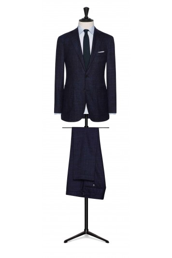 mixed blue faux uni wool-silk grooms wedding suit