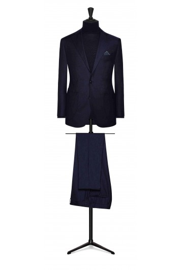 midnight blue wool with m.blue micro design grooms wedding suit made to measure