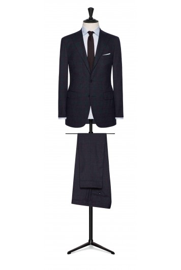 dark blue-burgundy glencheck wedding suit