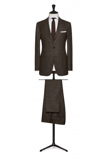 mid brown-dark brown wool-silk-linen houndstooth wedding suit