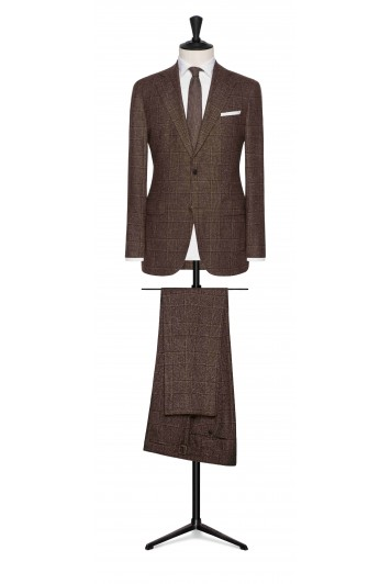 mahogany brown wool-silk glencheck wedding suit