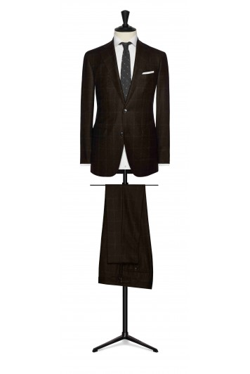 dark brown wool with white windowpane wedding suit