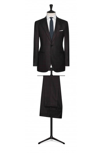 grooms dark brown wool with mid blue windowpane wedding suit