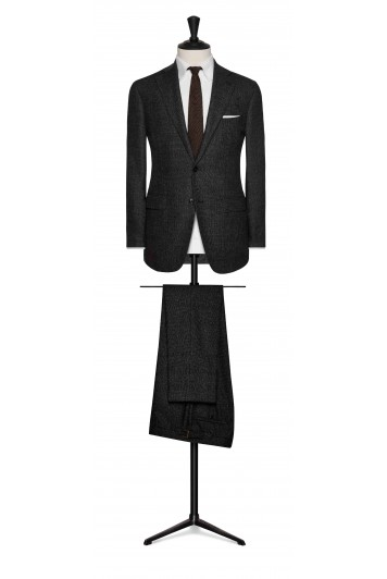 charcoal grey mouliné wool glencheck with brown windowpane wedding suit