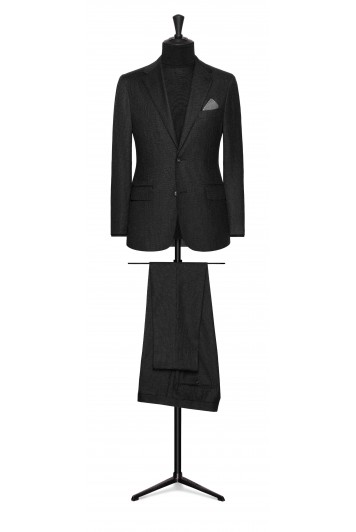 charcoal grey wool with mid grey micro design wedding suit