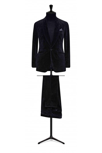 dark blue fine corduroy wedding suit