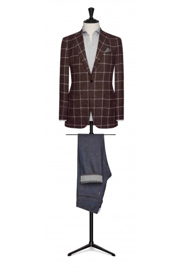 burgundy mouliné with white windowpane wedding grooms jacket