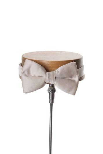 Plain Duchess satin antique ivory wedding bow tie
